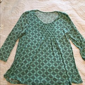 Croft&Barrow Pleated Front Top. Mint Green. S.